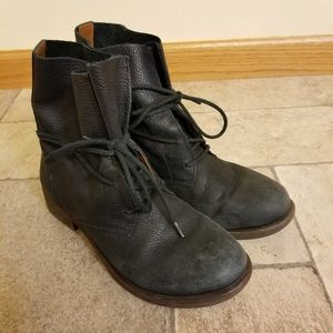 Lucky Brand Black Leather Wrap Tie Booties 6
